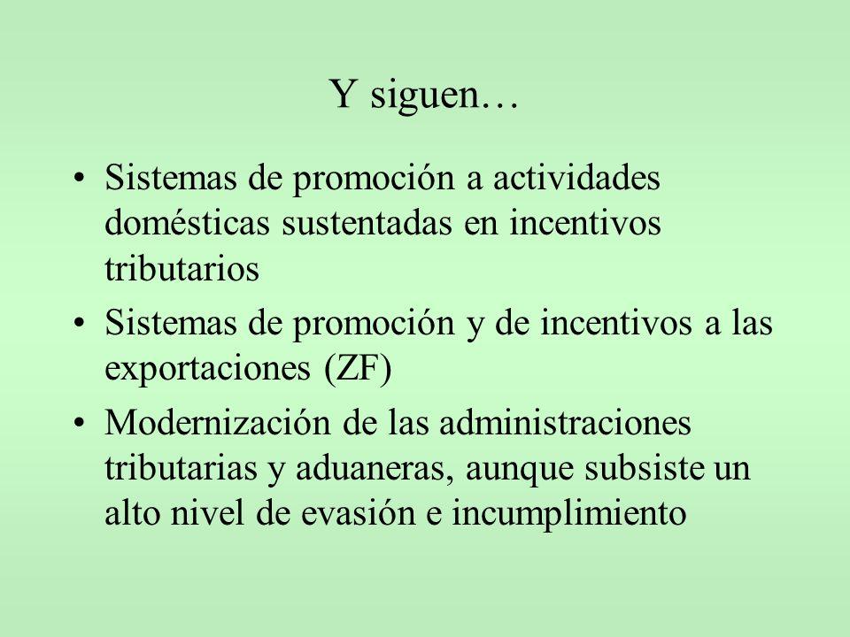 Y siguen… Sistemas de promoción a actividades domésticas sustentadas en incentivos tributarios.
