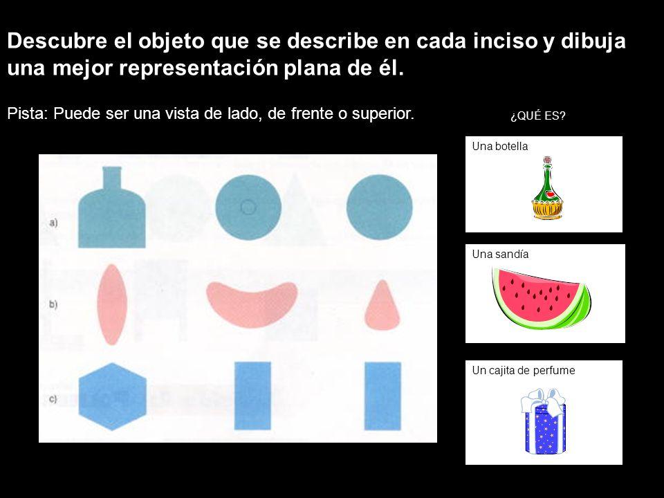 Descubre el objeto que se describe en cada inciso y dibuja una mejor representación plana de él.