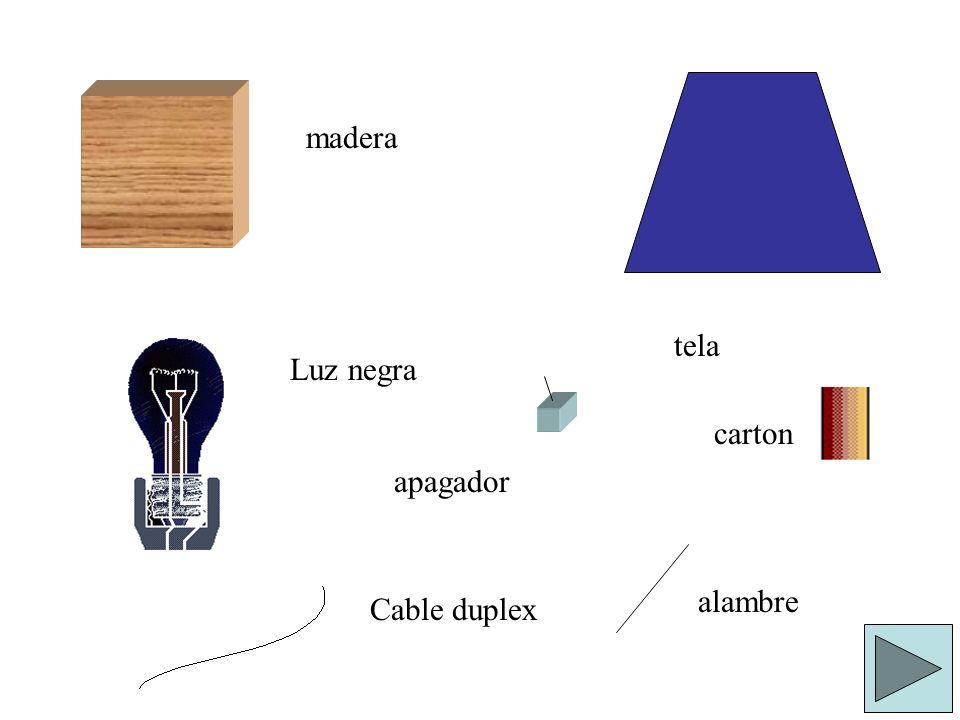 madera tela Luz negra carton apagador alambre Cable duplex