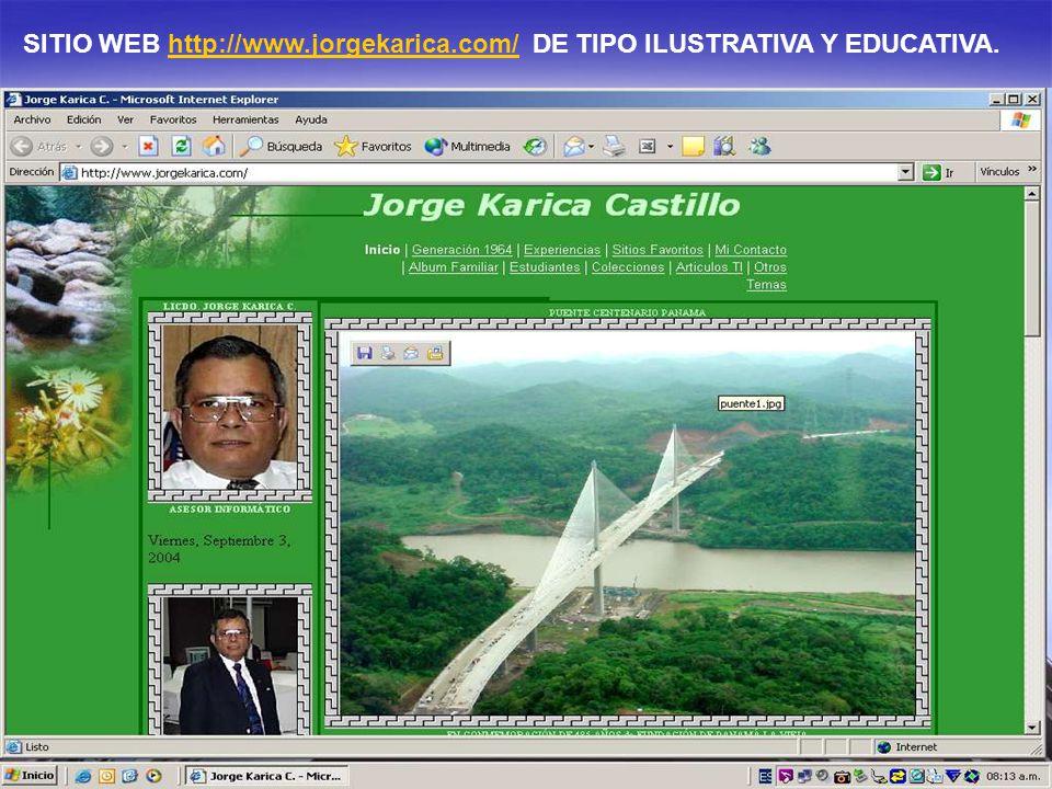 SITIO WEB http://www.jorgekarica.com/ DE TIPO ILUSTRATIVA Y EDUCATIVA.