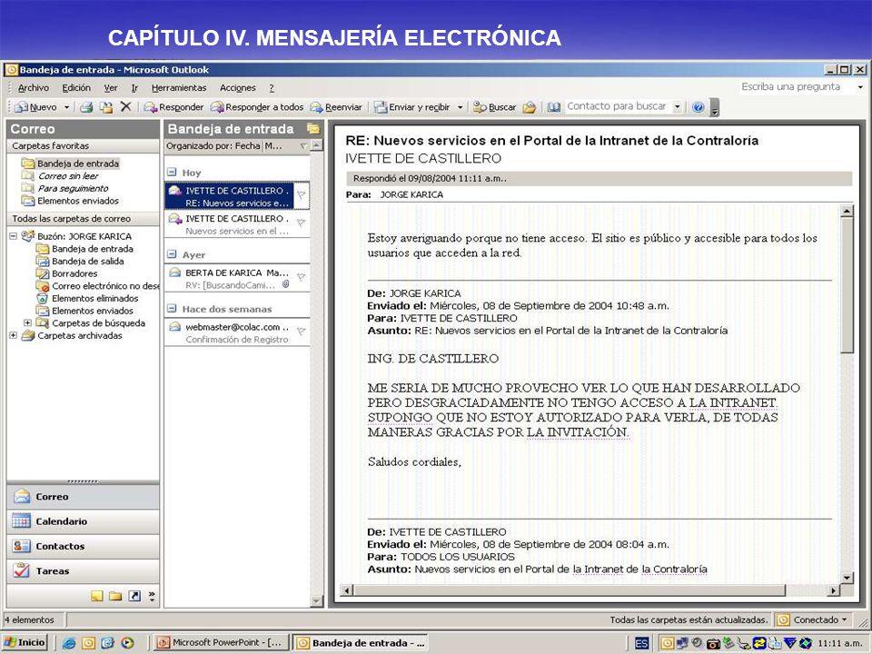 CAPÍTULO IV. MENSAJERÍA ELECTRÓNICA