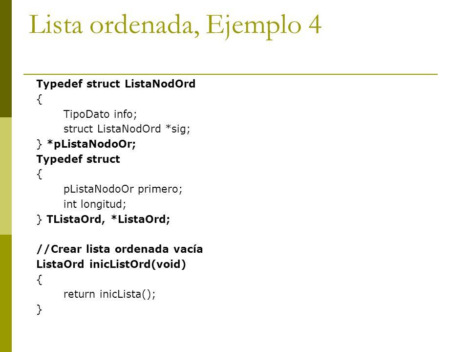 Lista ordenada, Ejemplo 4