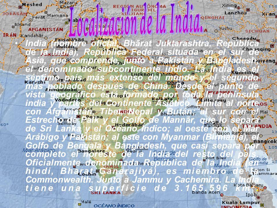 Localización de la India.
