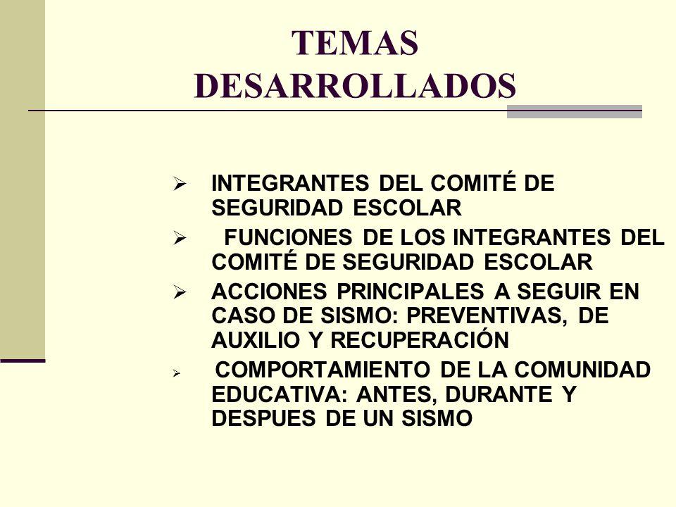 TEMAS DESARROLLADOS INTEGRANTES DEL COMITÉ DE SEGURIDAD ESCOLAR