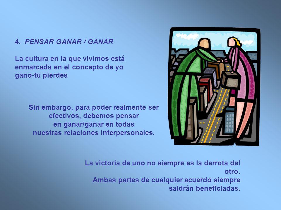 4. PENSAR GANAR / GANAR La cultura en la que vivimos está enmarcada en el concepto de yo gano-tu pierdes