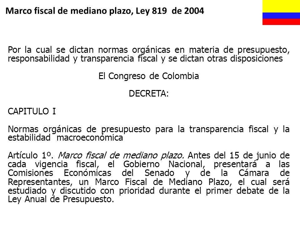 Marco fiscal de mediano plazo, Ley 819 de 2004