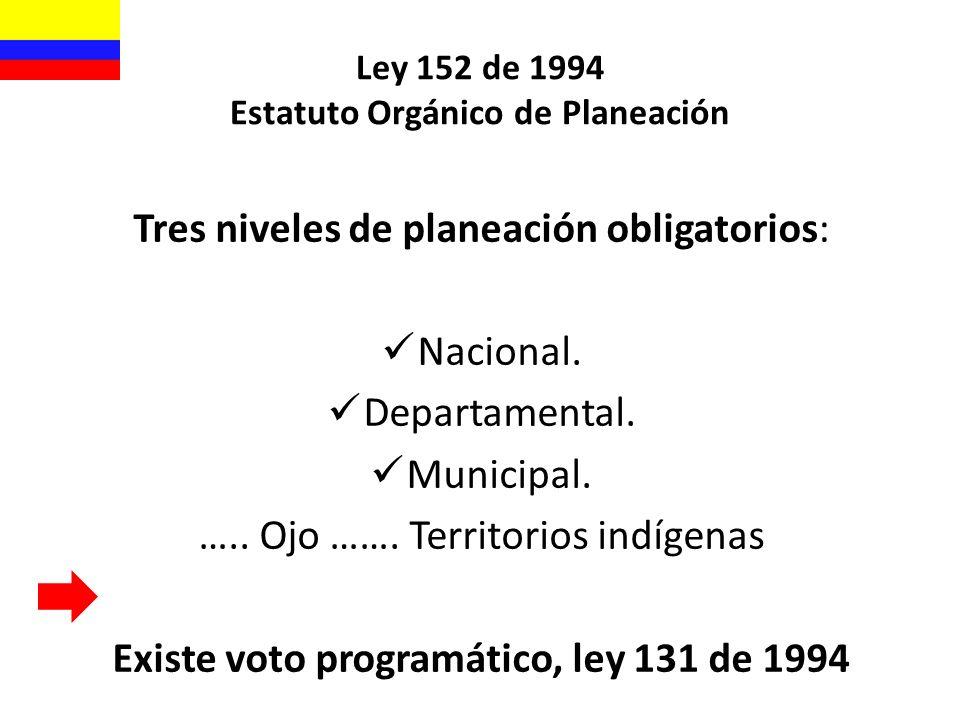 Ley 152 de 1994 Estatuto Orgánico de Planeación