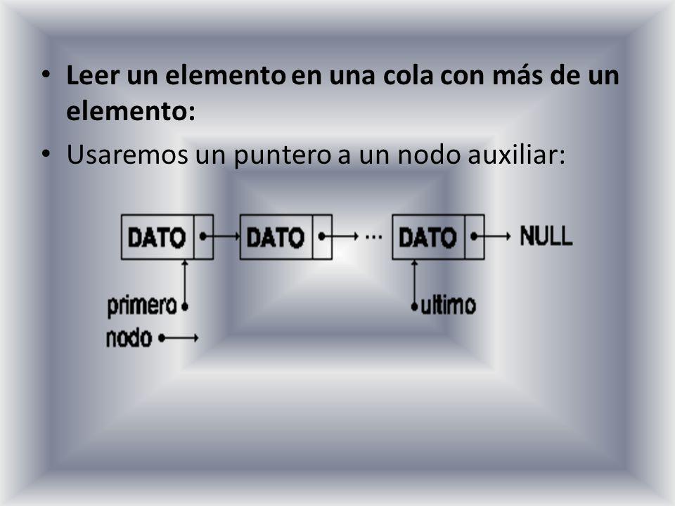 Leer un elemento en una cola con más de un elemento: