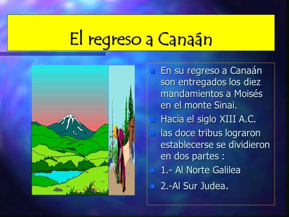 El regreso a Canaán En su regreso a Canaán son entregados los diez mandamientos a Moisés en el monte Sinai.