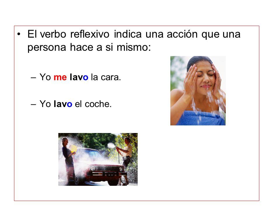 El verbo reflexivo indica una acción que una persona hace a si mismo: