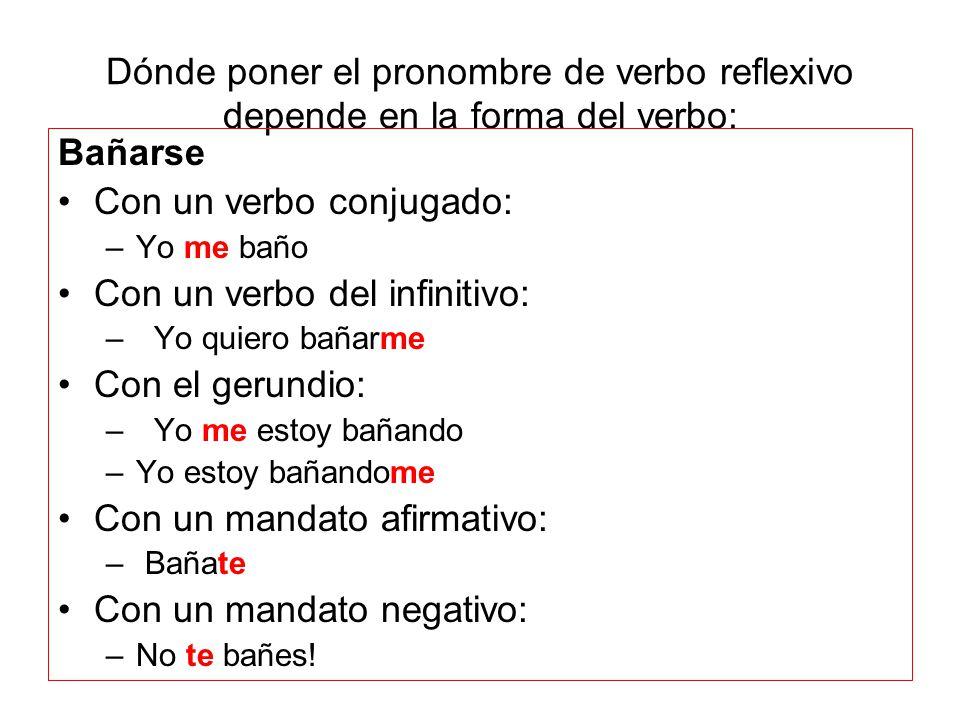Dónde poner el pronombre de verbo reflexivo depende en la forma del verbo:
