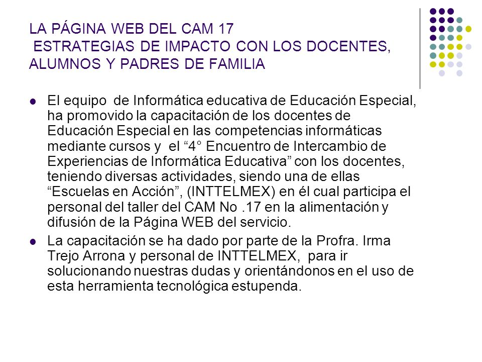 LA PÁGINA WEB DEL CAM 17 ESTRATEGIAS DE IMPACTO CON LOS DOCENTES, ALUMNOS Y PADRES DE FAMILIA
