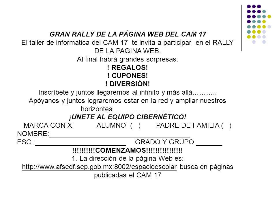 GRAN RALLY DE LA PÁGINA WEB DEL CAM 17