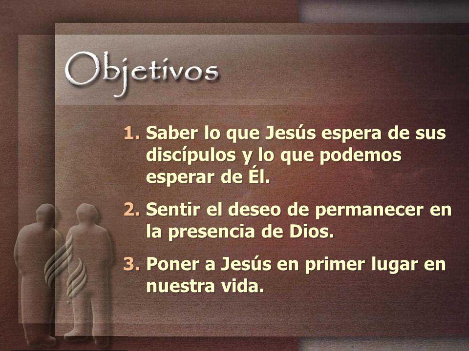 Saber lo que Jesús espera de sus discípulos y lo que podemos esperar de Él.
