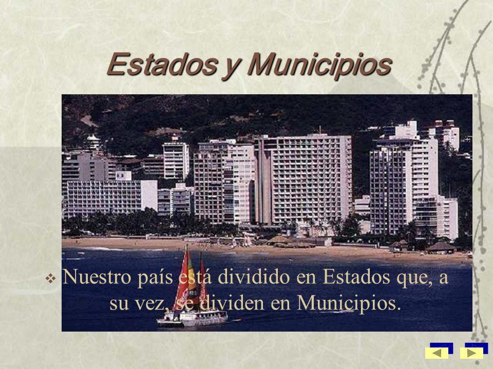 Estados y Municipios Nuestro país está dividido en Estados que, a su vez, se dividen en Municipios.