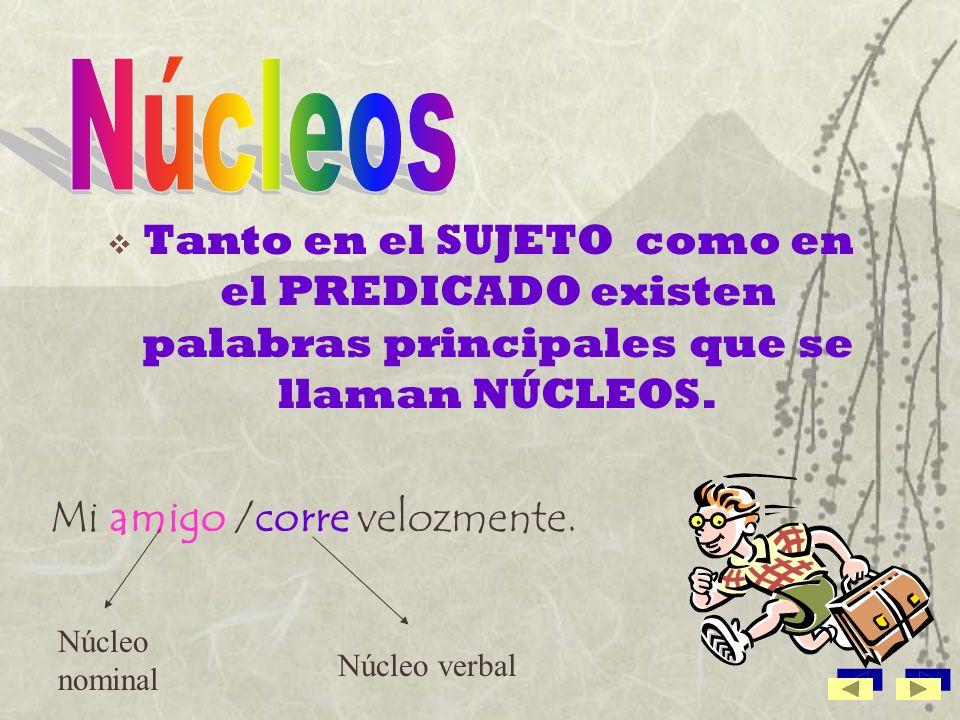 Núcleos Tanto en el SUJETO como en el PREDICADO existen palabras principales que se llaman NÚCLEOS.