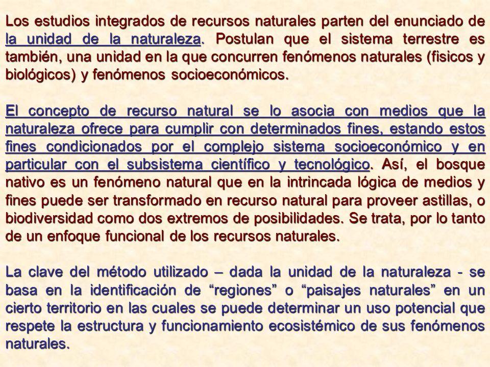 Los estudios integrados de recursos naturales parten del enunciado de la unidad de la naturaleza. Postulan que el sistema terrestre es también, una unidad en la que concurren fenómenos naturales (fisicos y biológicos) y fenómenos socioeconómicos.