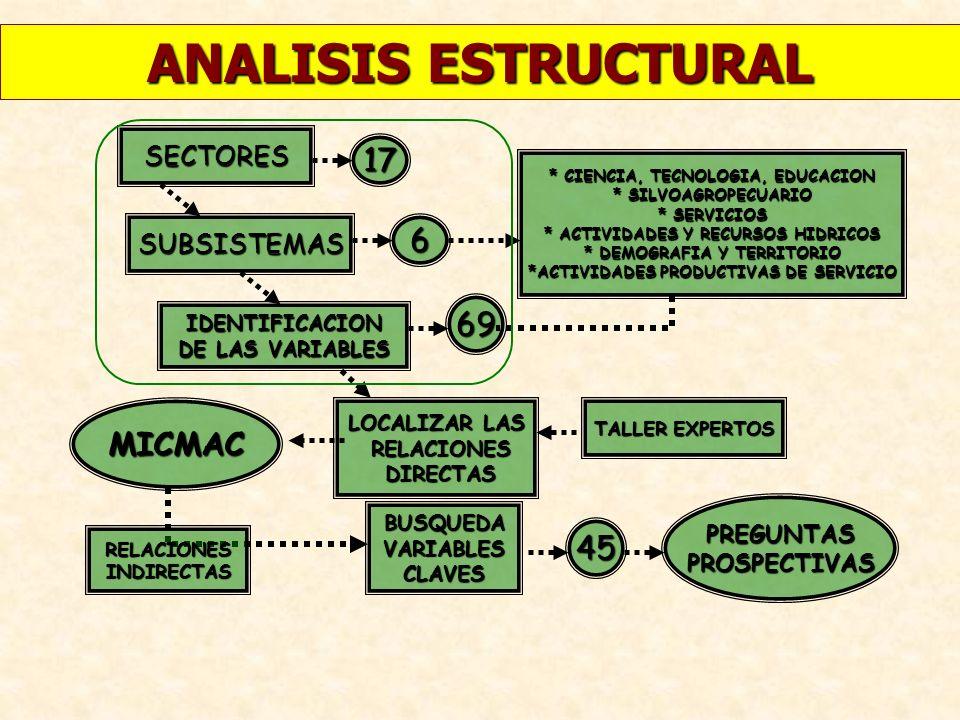 ANALISIS ESTRUCTURAL 17 6 69 MICMAC 45 SECTORES SUBSISTEMAS PREGUNTAS