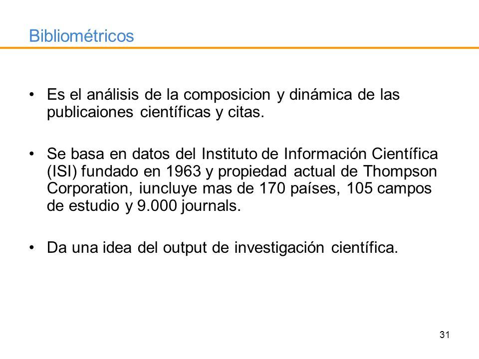 Bibliométricos Es el análisis de la composicion y dinámica de las publicaiones científicas y citas.