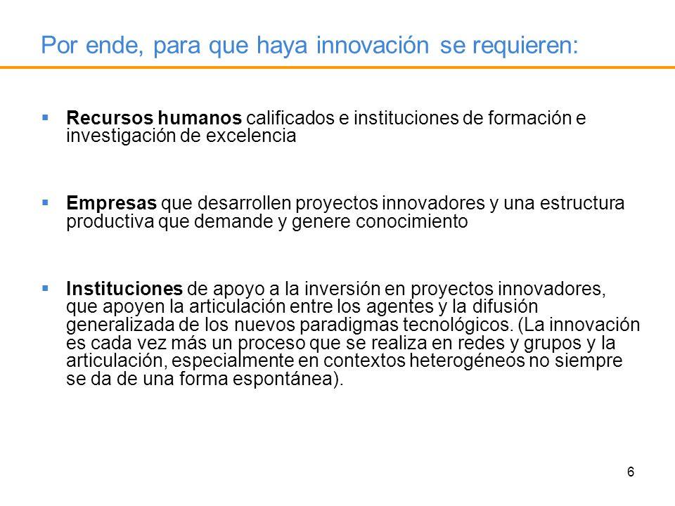 Por ende, para que haya innovación se requieren: