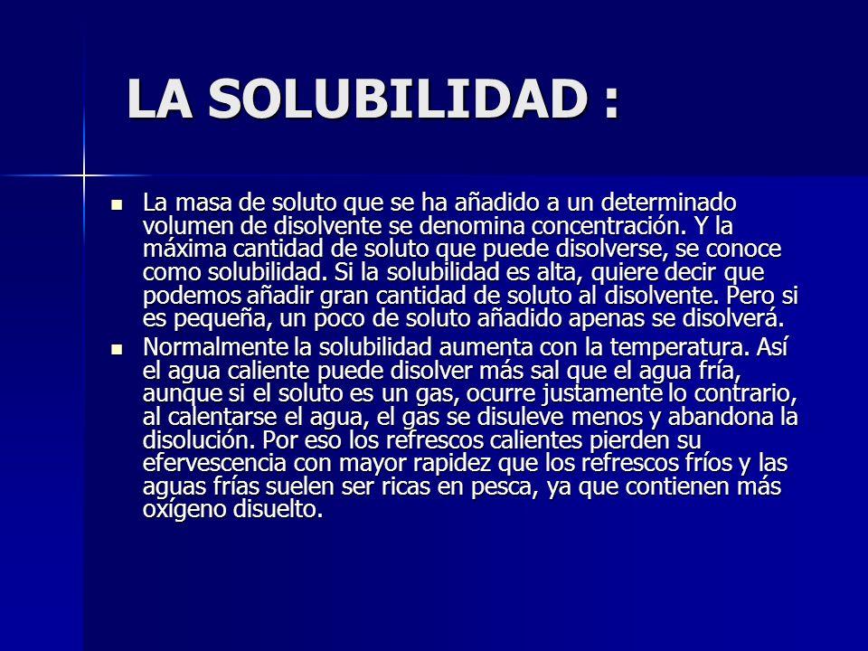 LA SOLUBILIDAD :
