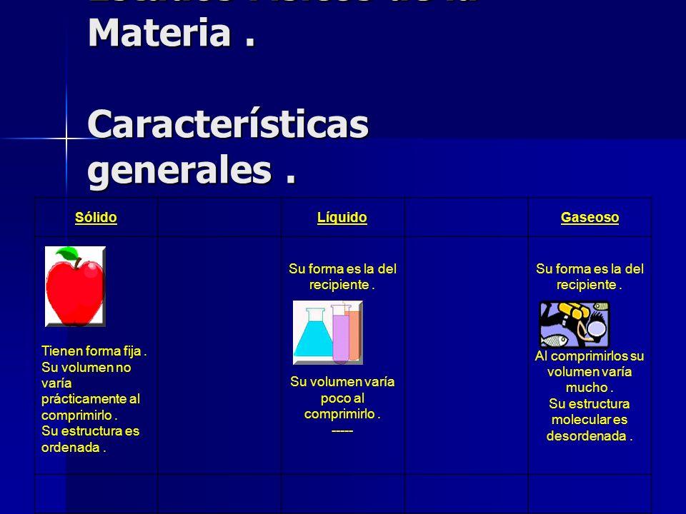 Estados Físicos de la Materia . Características generales .