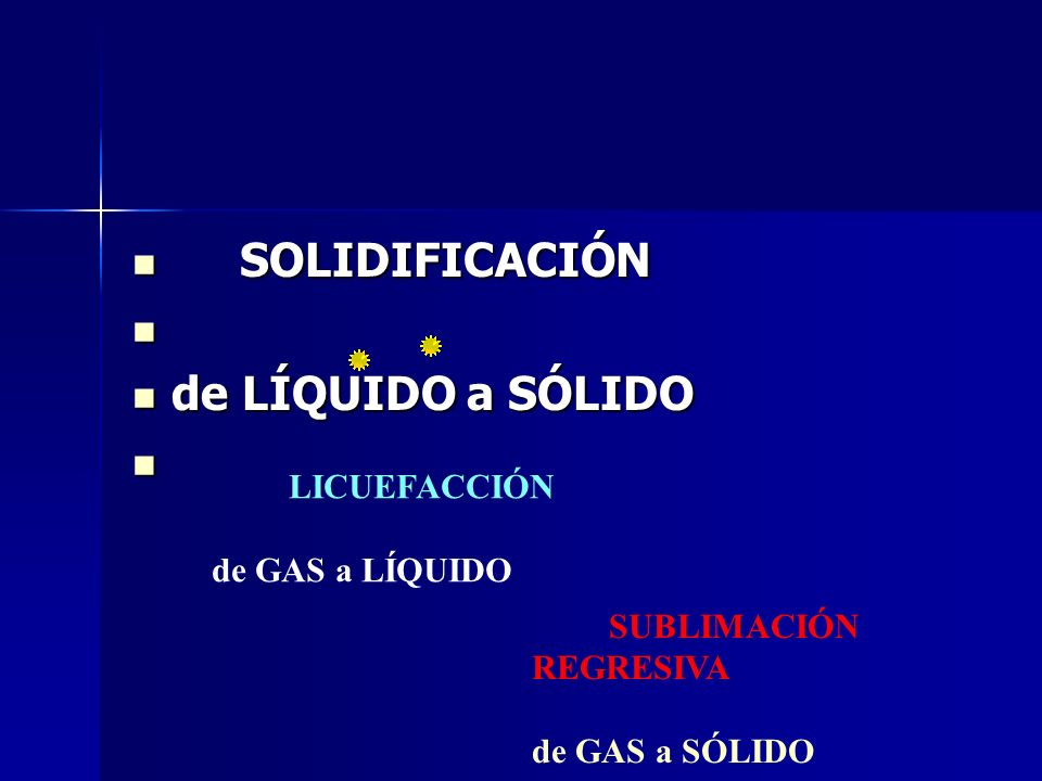 SOLIDIFICACIÓN de LÍQUIDO a SÓLIDO de GAS a LÍQUIDO de GAS a SÓLIDO