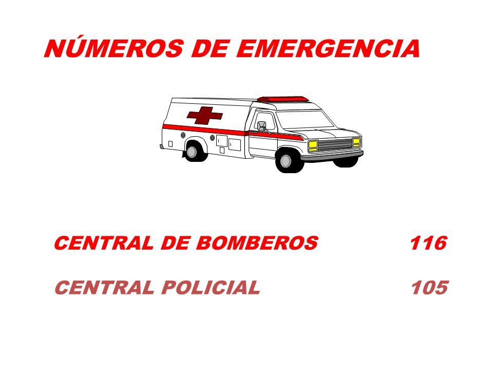 NÚMEROS DE EMERGENCIA CENTRAL DE BOMBEROS 116.