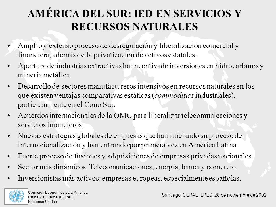 AMÉRICA DEL SUR: IED EN SERVICIOS Y RECURSOS NATURALES