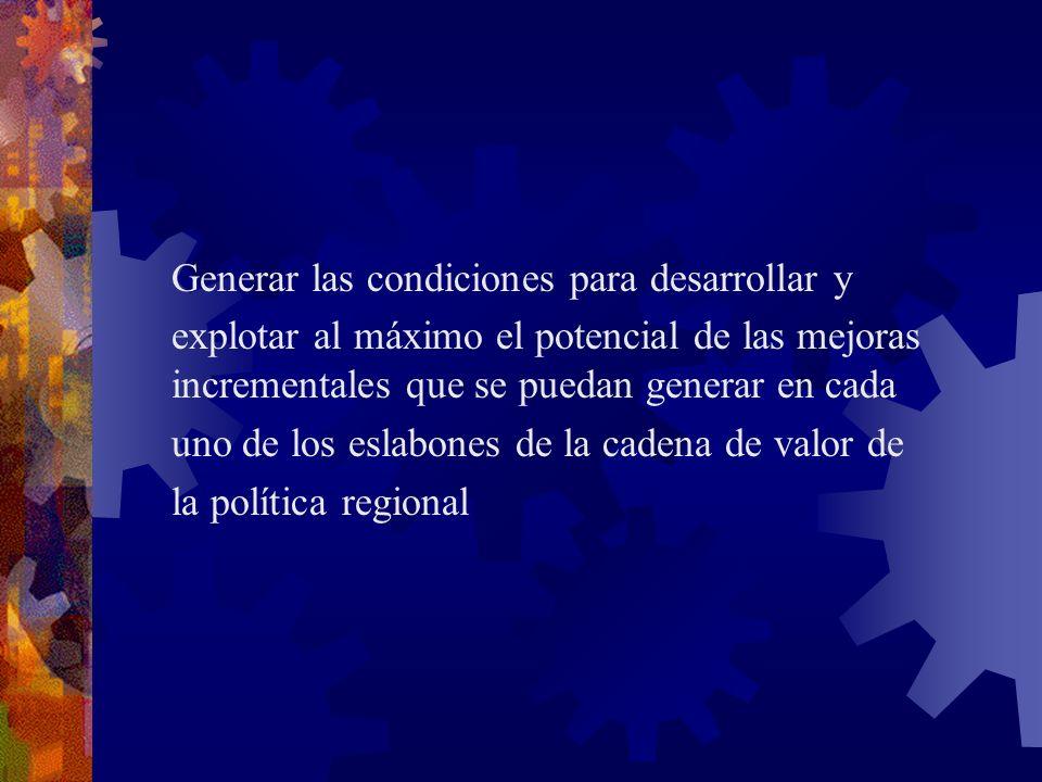 uno de los eslabones de la cadena de valor de la política regional