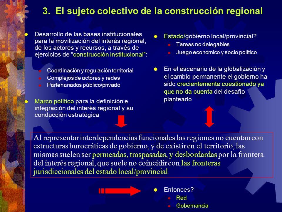 3. El sujeto colectivo de la construcción regional