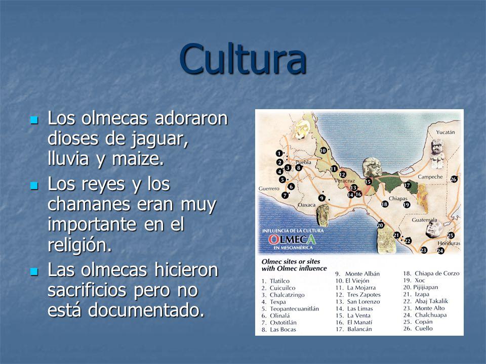 Cultura Los olmecas adoraron dioses de jaguar, lluvia y maize.