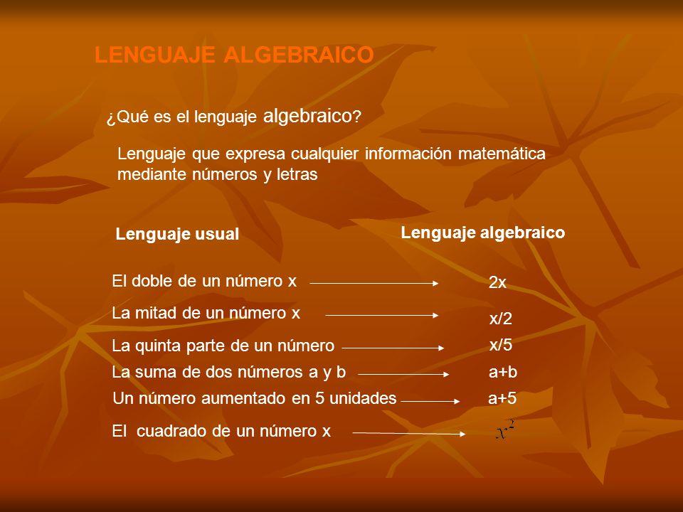 LENGUAJE ALGEBRAICO ¿Qué es el lenguaje algebraico