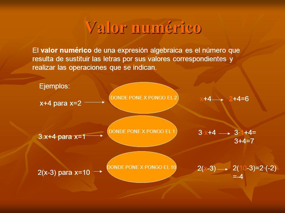 Valor numérico El valor numérico de una expresión algebraica es el número que. resulta de sustituir las letras por sus valores correspondientes y.