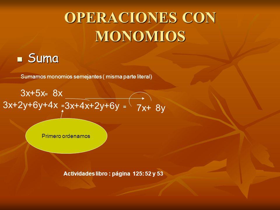 OPERACIONES CON MONOMIOS
