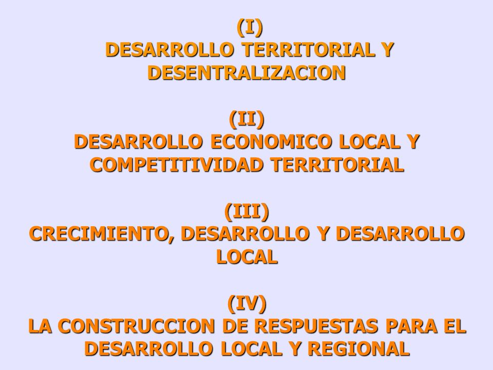 DESARROLLO TERRITORIAL Y DESENTRALIZACION