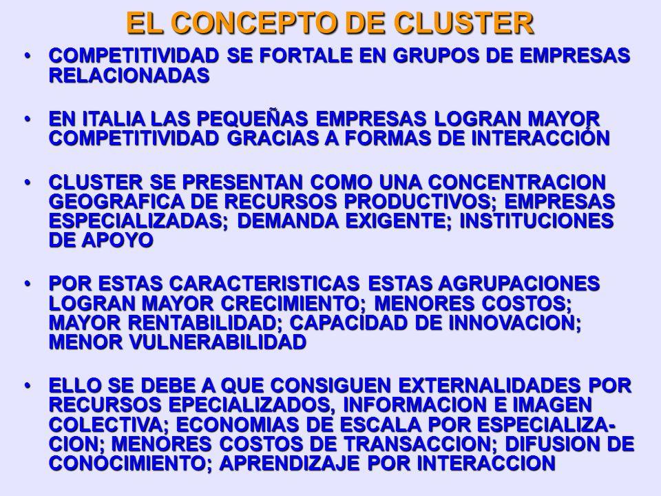 EL CONCEPTO DE CLUSTER COMPETITIVIDAD SE FORTALE EN GRUPOS DE EMPRESAS RELACIONADAS.