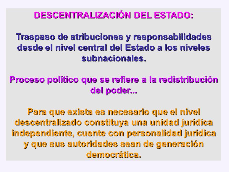 DESCENTRALIZACIÓN DEL ESTADO: