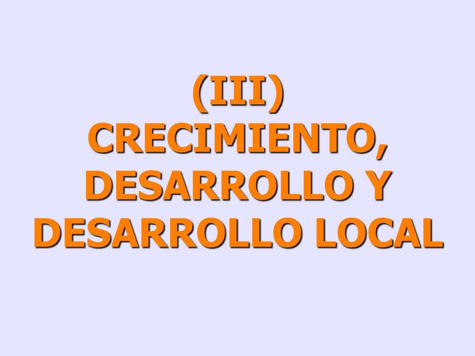 CRECIMIENTO, DESARROLLO Y DESARROLLO LOCAL