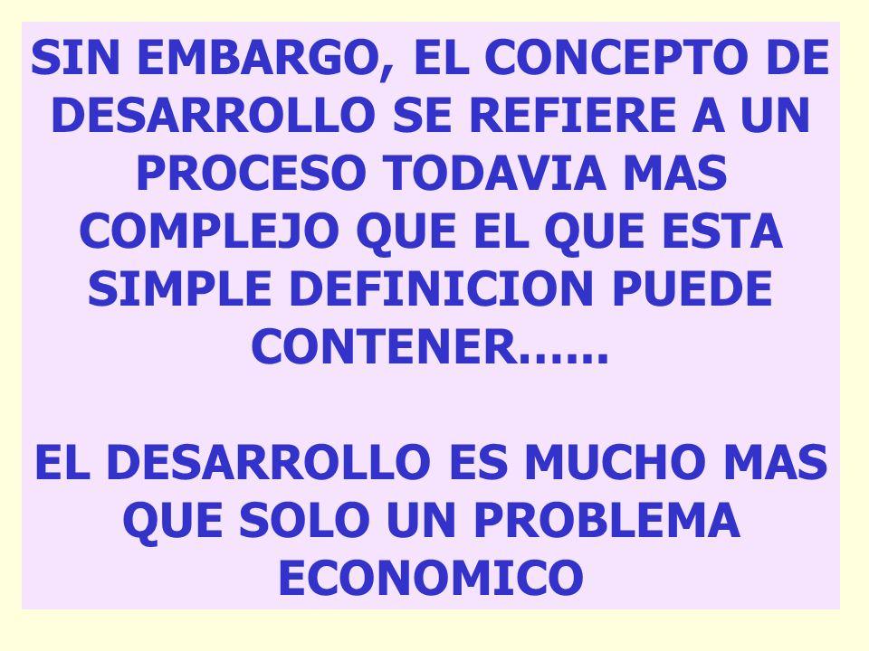 EL DESARROLLO ES MUCHO MAS QUE SOLO UN PROBLEMA ECONOMICO