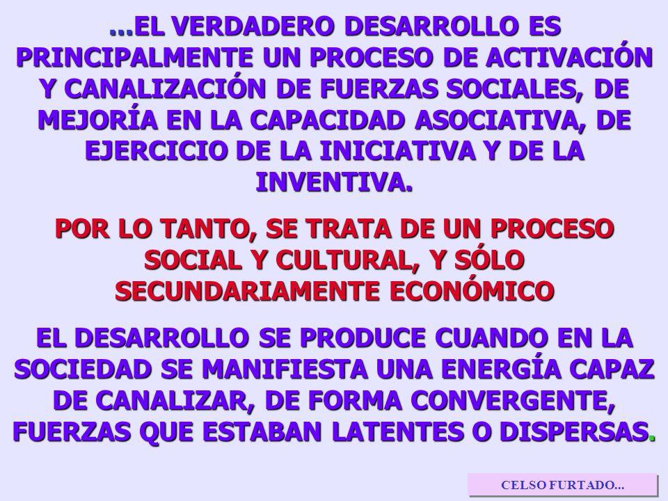 ...EL VERDADERO DESARROLLO ES PRINCIPALMENTE UN PROCESO DE ACTIVACIÓN Y CANALIZACIÓN DE FUERZAS SOCIALES, DE MEJORÍA EN LA CAPACIDAD ASOCIATIVA, DE EJERCICIO DE LA INICIATIVA Y DE LA INVENTIVA.