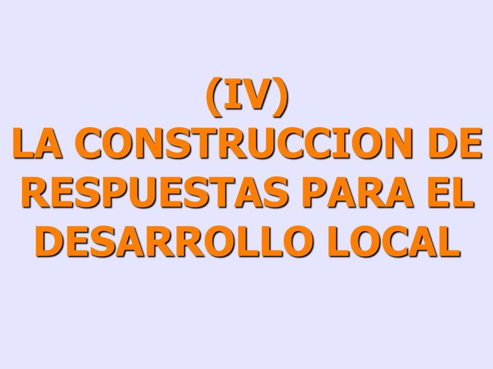 LA CONSTRUCCION DE RESPUESTAS PARA EL DESARROLLO LOCAL