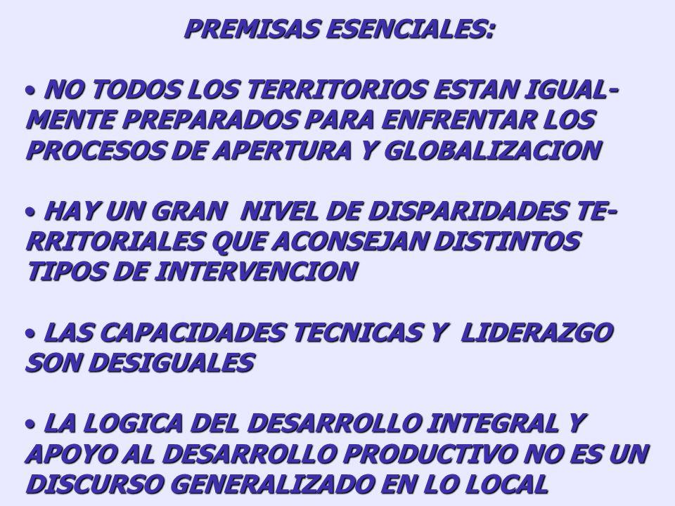 PREMISAS ESENCIALES: NO TODOS LOS TERRITORIOS ESTAN IGUAL-MENTE PREPARADOS PARA ENFRENTAR LOS PROCESOS DE APERTURA Y GLOBALIZACION.