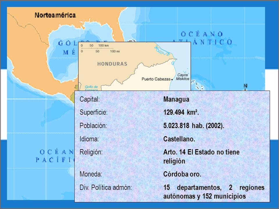 Capital: ManaguaSuperficie: 129.494 km². Población: 5.023.818 hab. (2002). Idioma: Castellano.