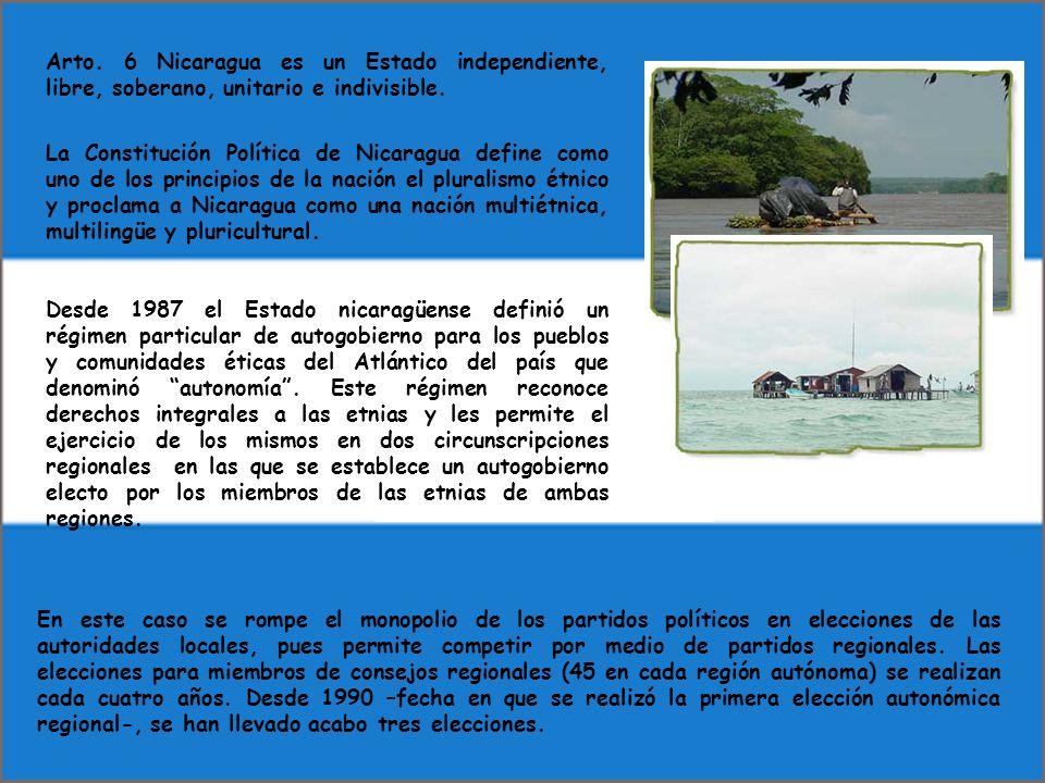 Arto. 6 Nicaragua es un Estado independiente, libre, soberano, unitario e indivisible.