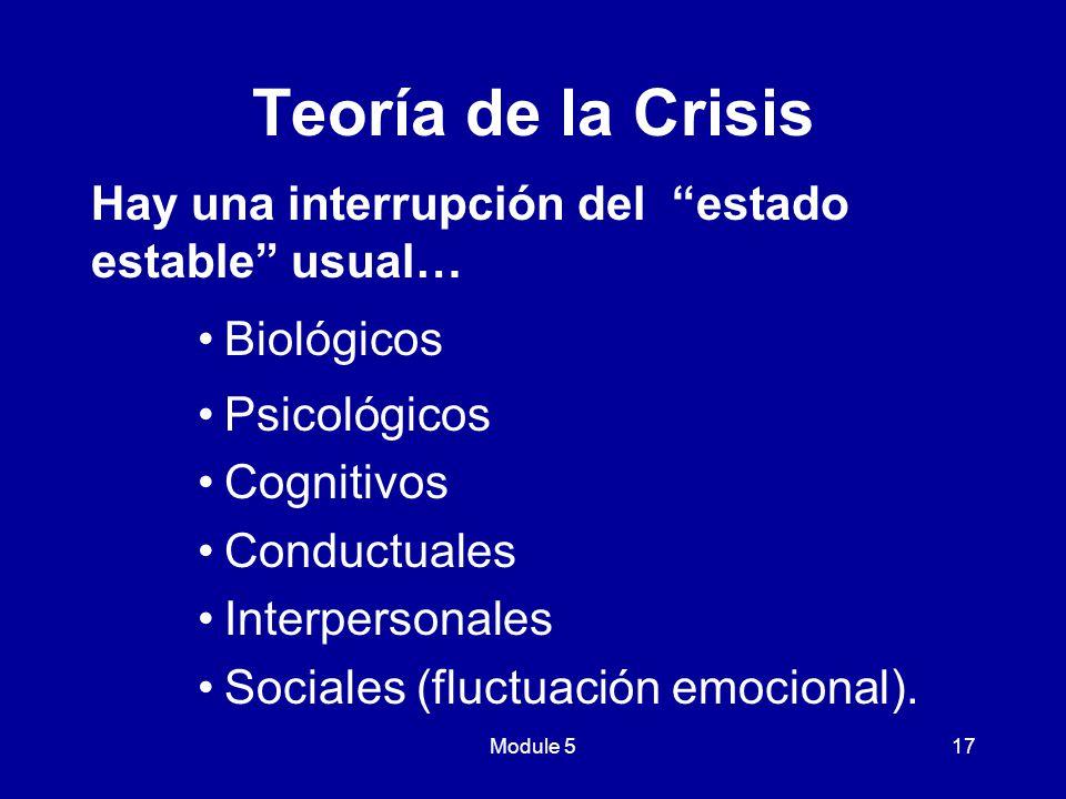Teoría de la Crisis Hay una interrupción del estado estable usual…