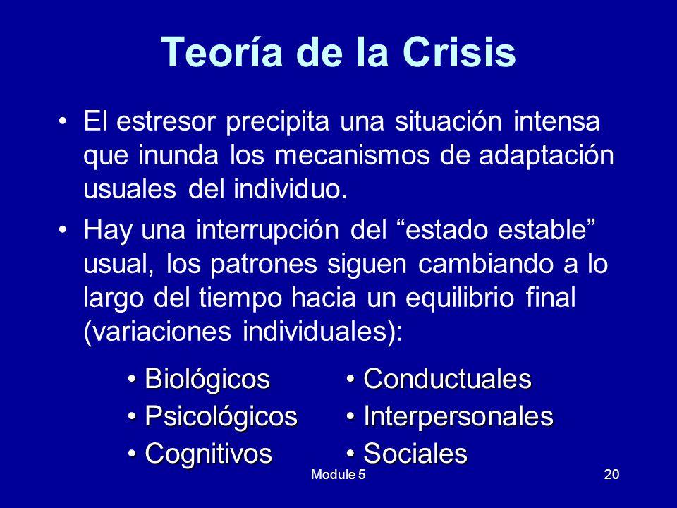 Teoría de la Crisis El estresor precipita una situación intensa que inunda los mecanismos de adaptación usuales del individuo.