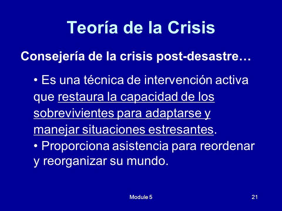 Teoría de la Crisis Consejería de la crisis post-desastre…