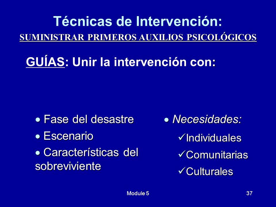 Técnicas de Intervención:
