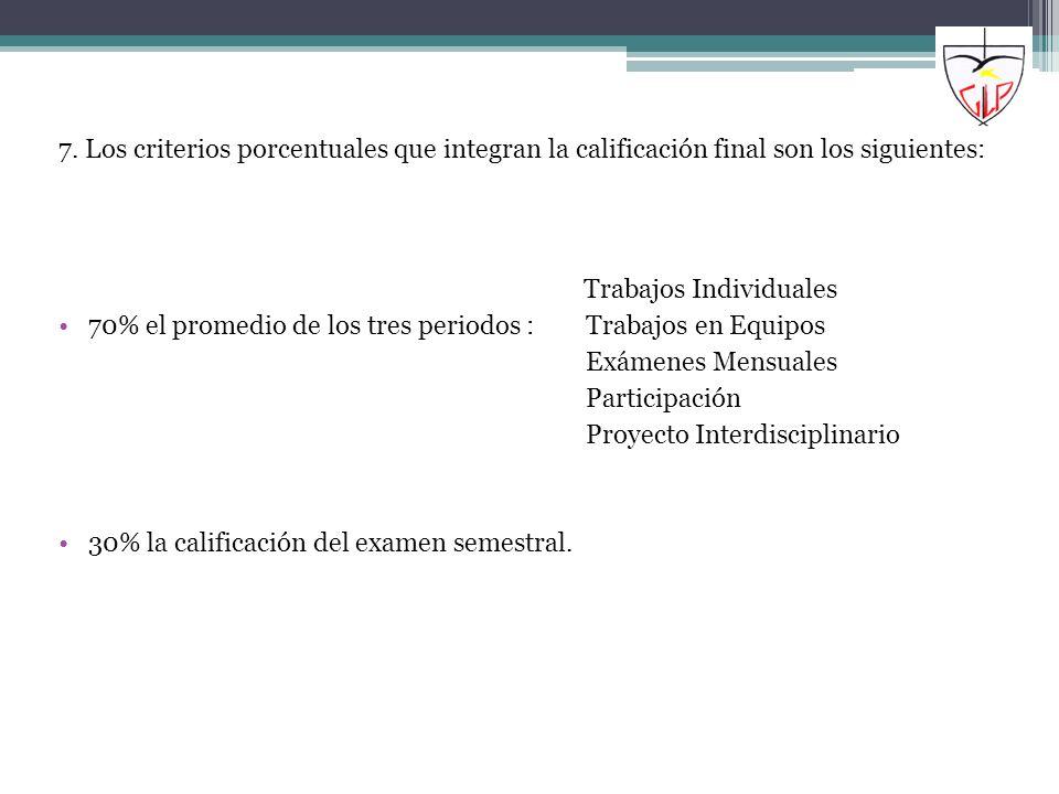 7. Los criterios porcentuales que integran la calificación final son los siguientes:
